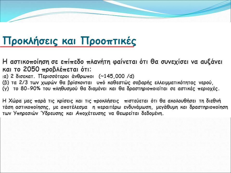 Αφαλάτωση στη Ελλάδα Η ΝΑ Ελλάδα αντιμετωπίζει σοβαρή πίεση στους υδατικούς της πόρους, κυρίους τους θερινούς μήνες εξαιτίας της υψηλής ζήτησης για τουρισμό και άρδευση Οι Τοπικές ΔΕΥΑ διαχειρίζονται σήμερα περίπου 70 μικρές μονάδες αφαλάτωσης με συνολική χωρητικότητα άνω των 35.000 m³ / d Οι περισσότερους από αυτές είναι αντίστροφης όσμωσης και βρίσκονται σε νησιά Ένας αριθμός των μονάδων αφαλάτωσης στον ιδιωτικό τομέα, κυρίως σε ξενοδοχεία.