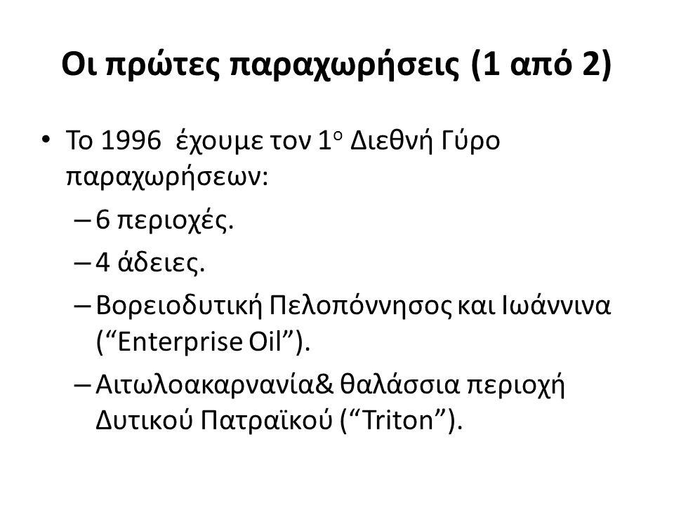 Οι πρώτες παραχωρήσεις (1 από 2) Το 1996 έχουμε τον 1 ο Διεθνή Γύρο παραχωρήσεων: – 6 περιοχές. – 4 άδειες. – Βορειοδυτική Πελοπόννησος και Ιωάννινα (