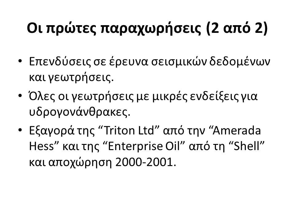 Οι πρώτες παραχωρήσεις (2 από 2) Επενδύσεις σε έρευνα σεισμικών δεδομένων και γεωτρήσεις. Όλες οι γεωτρήσεις με μικρές ενδείξεις για υδρογονάνθρακες.