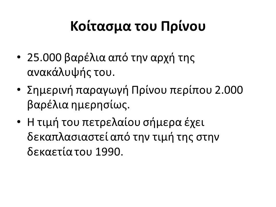 Κοίτασμα του Πρίνου 25.000 βαρέλια από την αρχή της ανακάλυψής του.