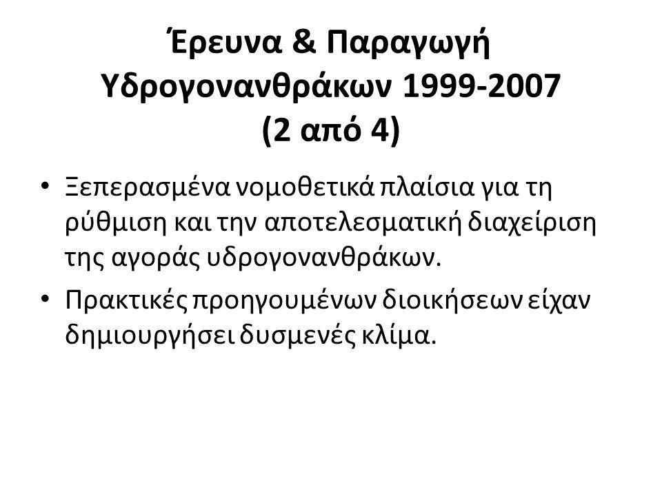 Έρευνα & Παραγωγή Υδρογονανθράκων 1999-2007 (2 από 4) Ξεπερασμένα νομοθετικά πλαίσια για τη ρύθμιση και την αποτελεσματική διαχείριση της αγοράς υδρογ