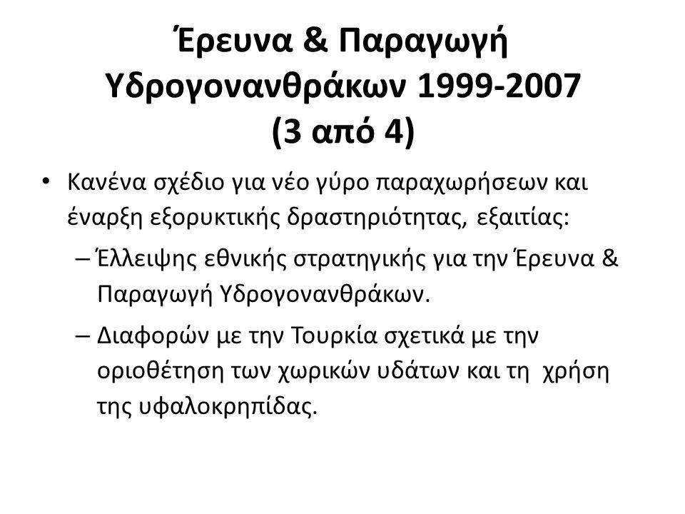 Έρευνα & Παραγωγή Υδρογονανθράκων 1999-2007 (3 από 4) Κανένα σχέδιο για νέο γύρο παραχωρήσεων και έναρξη εξορυκτικής δραστηριότητας, εξαιτίας: – Έλλει