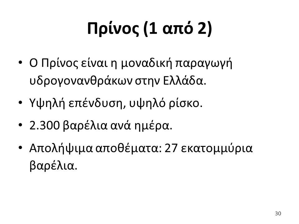 Πρίνος (1 από 2) Ο Πρίνος είναι η μοναδική παραγωγή υδρογονανθράκων στην Ελλάδα. Υψηλή επένδυση, υψηλό ρίσκο. 2.300 βαρέλια ανά ημέρα. Απολήψιμα αποθέ