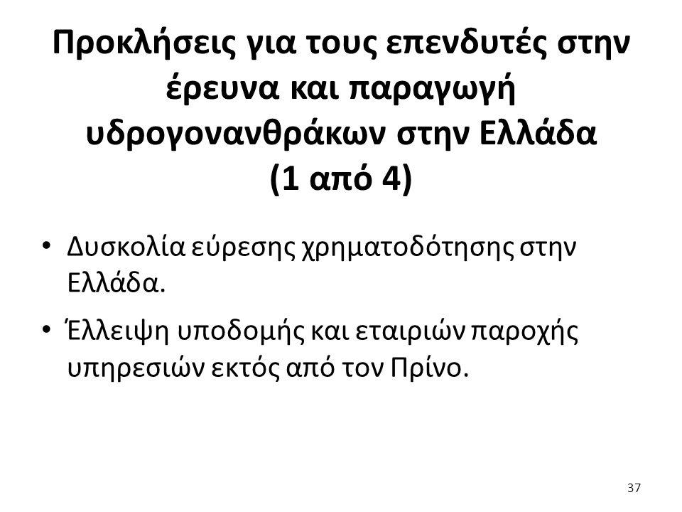 Προκλήσεις για τους επενδυτές στην έρευνα και παραγωγή υδρογονανθράκων στην Ελλάδα (1 από 4) Δυσκολία εύρεσης χρηματοδότησης στην Ελλάδα. Έλλειψη υποδ