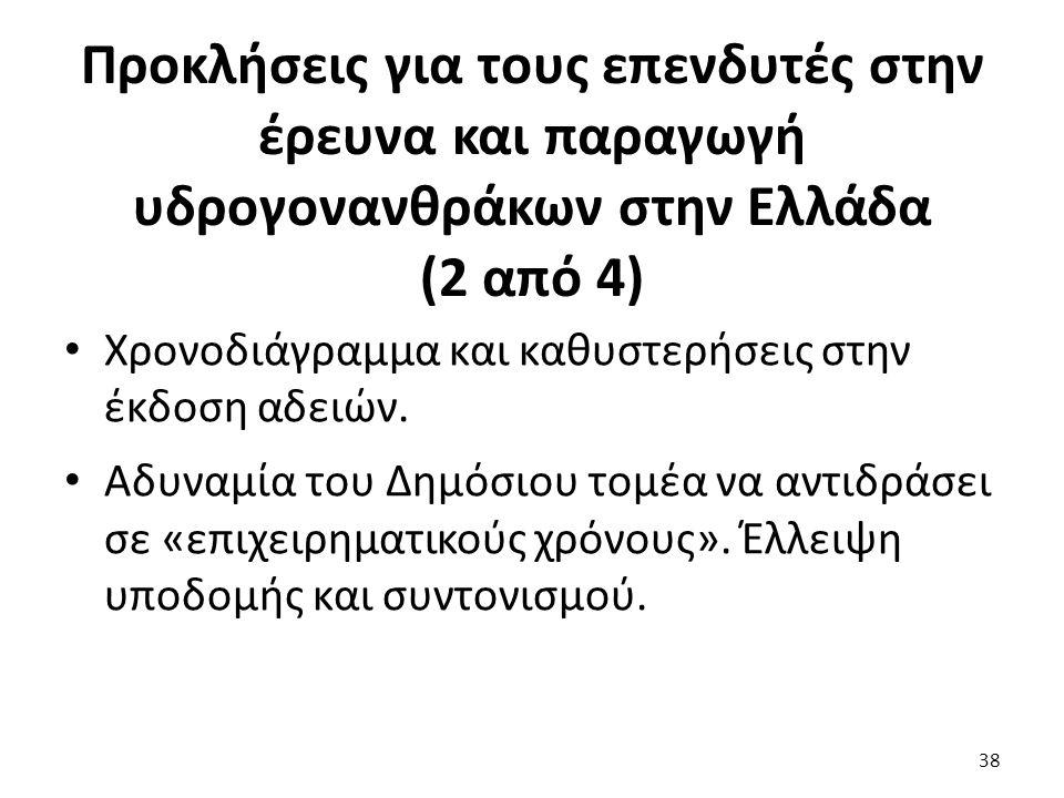 Προκλήσεις για τους επενδυτές στην έρευνα και παραγωγή υδρογονανθράκων στην Ελλάδα (2 από 4) Χρονοδιάγραμμα και καθυστερήσεις στην έκδοση αδειών. Αδυν