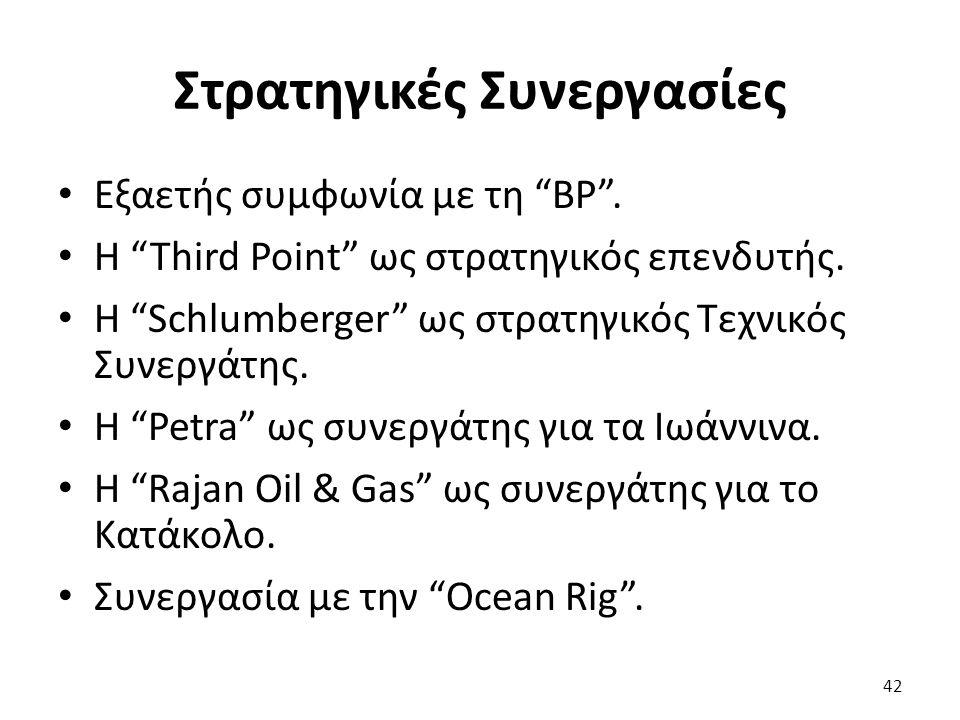 """Στρατηγικές Συνεργασίες Εξαετής συμφωνία με τη """"BP"""". H """"Third Point"""" ως στρατηγικός επενδυτής. H """"Schlumberger"""" ως στρατηγικός Τεχνικός Συνεργάτης. H"""