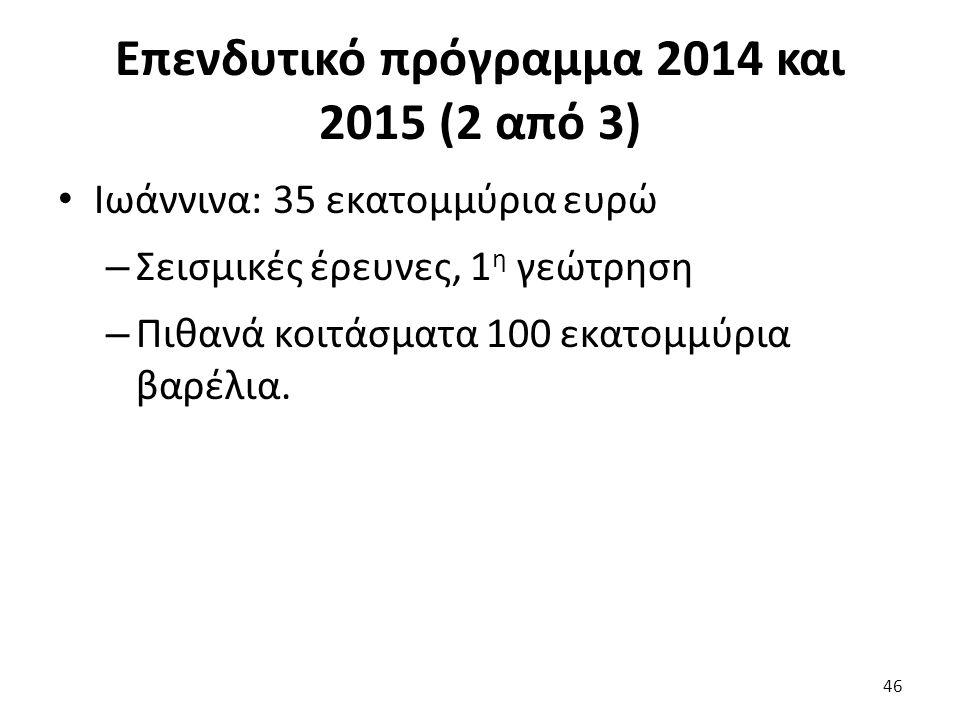Επενδυτικό πρόγραμμα 2014 και 2015 (2 από 3) Ιωάννινα: 35 εκατομμύρια ευρώ – Σεισμικές έρευνες, 1 η γεώτρηση – Πιθανά κοιτάσματα 100 εκατομμύρια βαρέλ