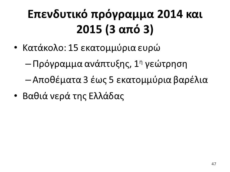 Επενδυτικό πρόγραμμα 2014 και 2015 (3 από 3) Κατάκολο: 15 εκατομμύρια ευρώ – Πρόγραμμα ανάπτυξης, 1 η γεώτρηση – Αποθέματα 3 έως 5 εκατομμύρια βαρέλια