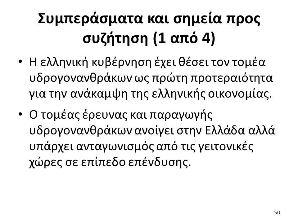 Συμπεράσματα και σημεία προς συζήτηση (1 από 4) Η ελληνική κυβέρνηση έχει θέσει τον τομέα υδρογονανθράκων ως πρώτη προτεραιότητα για την ανάκαμψη της