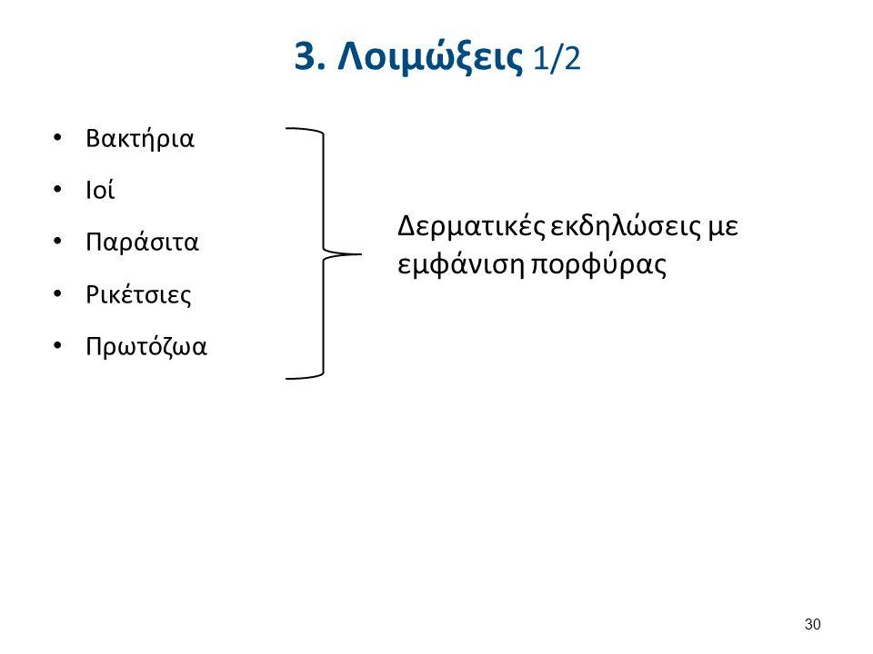 3. Λοιμώξεις 1/2 Βακτήρια Ιοί Παράσιτα Ρικέτσιες Πρωτόζωα Δερματικές εκδηλώσεις με εμφάνιση πορφύρας 30