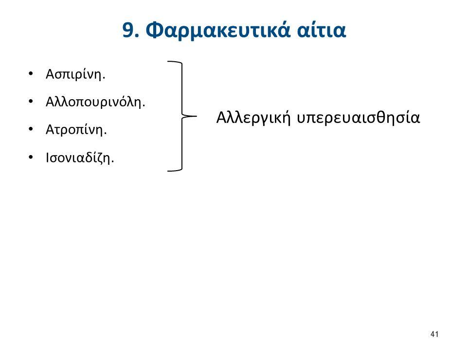 9. Φαρμακευτικά αίτια Ασπιρίνη. Αλλοπουρινόλη. Ατροπίνη. Ισονιαδίζη. Αλλεργική υπερευαισθησία 41