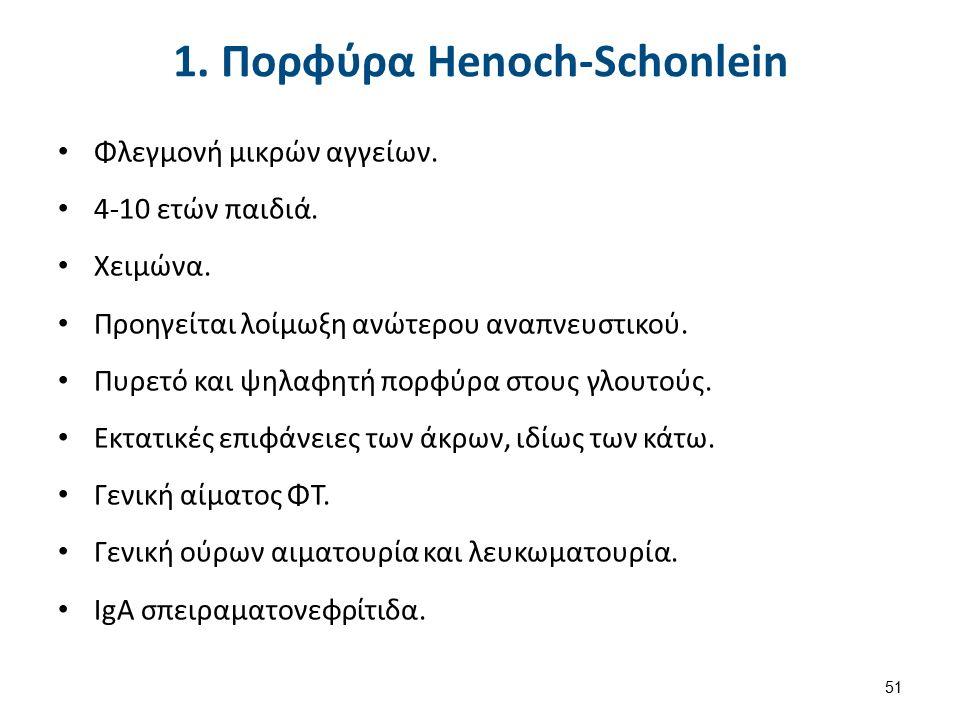 1. Πορφύρα Henoch-Schonlein Φλεγμονή μικρών αγγείων.