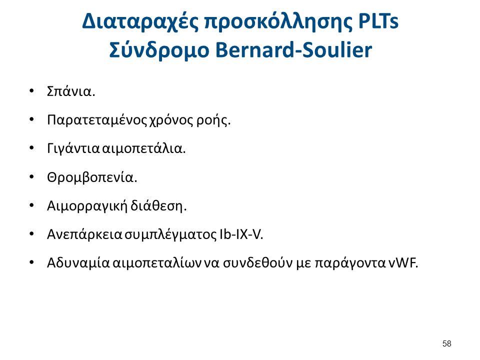 Διαταραχές προσκόλλησης PLTs Σύνδρομο Bernard-Soulier Σπάνια.