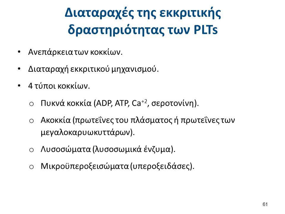 Διαταραχές της εκκριτικής δραστηριότητας των PLTs Ανεπάρκεια των κοκκίων.
