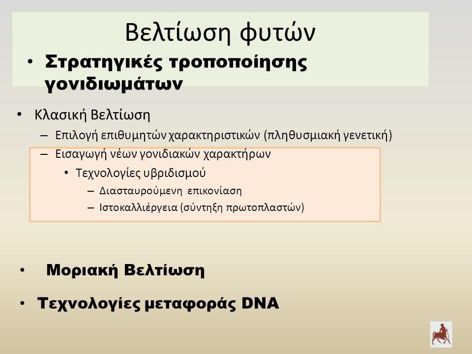 Bελτίωση φυτών Κλασική Βελτίωση – Επιλογή επιθυμητών χαρακτηριστικών (πληθυσμιακή γενετική) – Εισαγωγή νέων γονιδιακών χαρακτήρων Τεχνολογίες υβριδισμού – Διασταυρούμενη επικονίαση – Ιστοκαλλιέργεια (σύντηξη πρωτοπλαστών) Στρατηγικές τροποποίησης γονιδιωμάτων Τεχνολογίες μεταφοράς DNA Μοριακή Βελτίωση