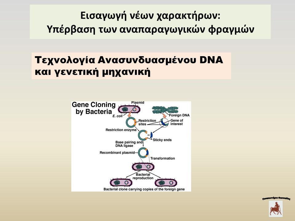 Εισαγωγή νέων χαρακτήρων: Υπέρβαση των αναπαραγωγικών φραγμών Τεχνολογία Ανασυνδυασμένου DNA και γενετική μηχανική