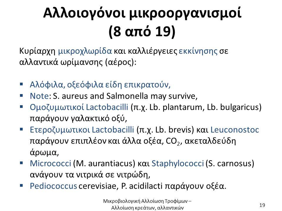 Αλλοιογόνοι μικροοργανισμοί (8 από 19) Κυρίαρχη μικροχλωρίδα και καλλιέργειες εκκίνησης σε αλλαντικά ωρίμανσης (αέρος):  Αλόφιλα, οξεόφιλα είδη επικρατούν,  Note: S.