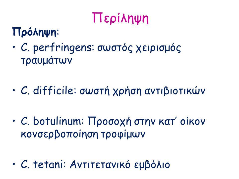 Περίληψη Πρόληψη: C. perfringens: σωστός χειρισμός τραυμάτων C. difficile: σωστή χρήση αντιβιοτικών C. botulinum: Προσοχή στην κατ' οίκον κονσερβοποίη