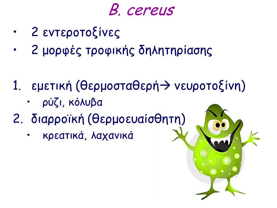 B. cereus 2 εντεροτοξίνες 2 μορφές τροφικής δηλητηρίασης 1.εμετική (θερμοσταθερή  νευροτοξίνη) ρύζι, κόλυβα 2.διαρροϊκή (θερμοευαίσθητη) κρεατικά, λα