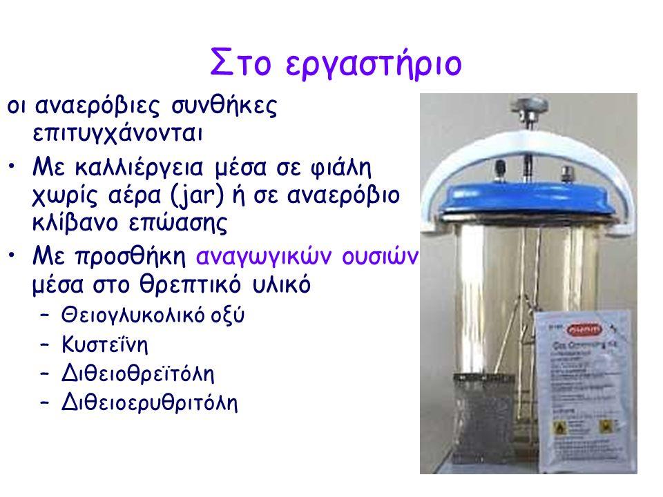 Στο εργαστήριο οι αναερόβιες συνθήκες επιτυγχάνονται Με καλλιέργεια μέσα σε φιάλη χωρίς αέρα (jar) ή σε αναερόβιο κλίβανο επώασης Με προσθήκη αναγωγικών ουσιών μέσα στο θρεπτικό υλικό –Θειογλυκολικό οξύ –Κυστεΐνη –Διθειοθρεϊτόλη –Διθειοερυθριτόλη