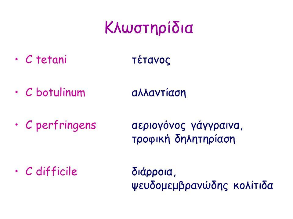 Κλωστηρίδια C tetani τέτανος C botulinumαλλαντίαση C perfringens αεριογόνος γάγγραινα, τροφική δηλητηρίαση C difficile διάρροια, ψευδομεμβρανώδης κολί