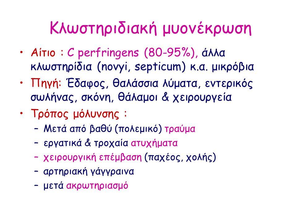 Κλωστηριδιακή μυονέκρωση Αίτιο : C perfringens (80-95%), άλλα κλωστηρίδια (novyi, septicum) κ.α. μικρόβια Πηγή: Έδαφος, θαλάσσια λύματα, εντερικός σωλ