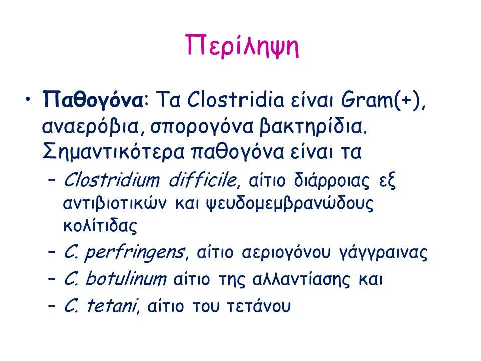 Περίληψη Παθογόνα: Τα Clostridia είναι Gram(+), αναερόβια, σπορογόνα βακτηρίδια. Σημαντικότερα παθογόνα είναι τα –Clostridium difficile, αίτιο διάρροι