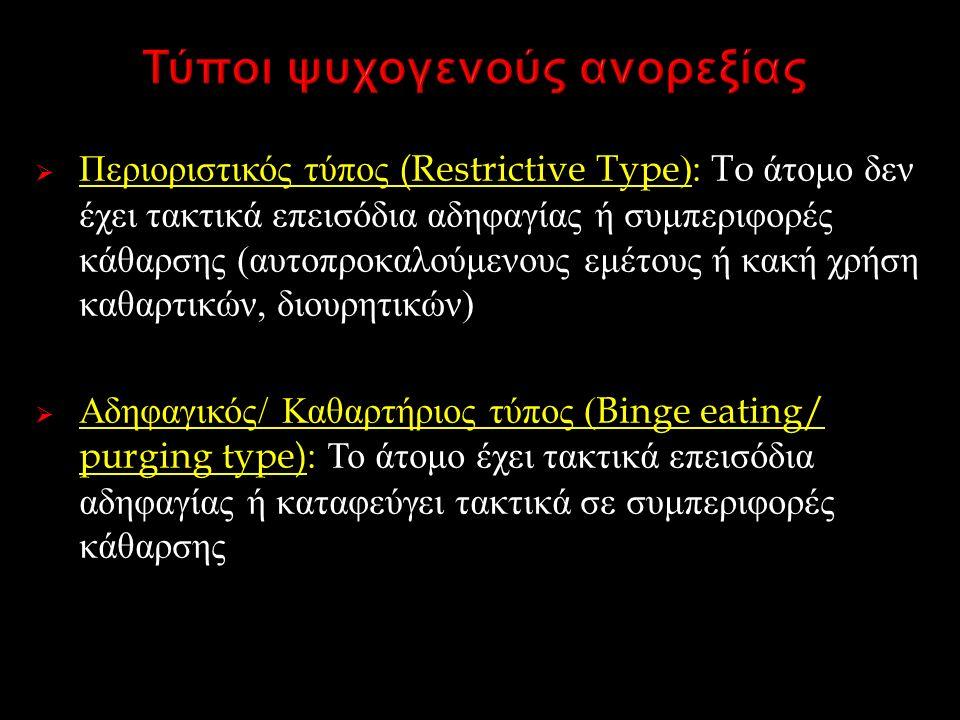  Περιοριστικός τύπος (Restrictive Type): To άτομο δεν έχει τακτικά επεισόδια αδηφαγίας ή συμπεριφορές κάθαρσης ( αυτοπροκαλούμενους εμέτους ή κακή χρήση καθαρτικών, διουρητικών )  Αδηφαγικός / Καθαρτήριος τύπος (Binge eating/ purging type): Το άτομο έχει τακτικά επεισόδια αδηφαγίας ή καταφεύγει τακτικά σε συμπεριφορές κάθαρσης