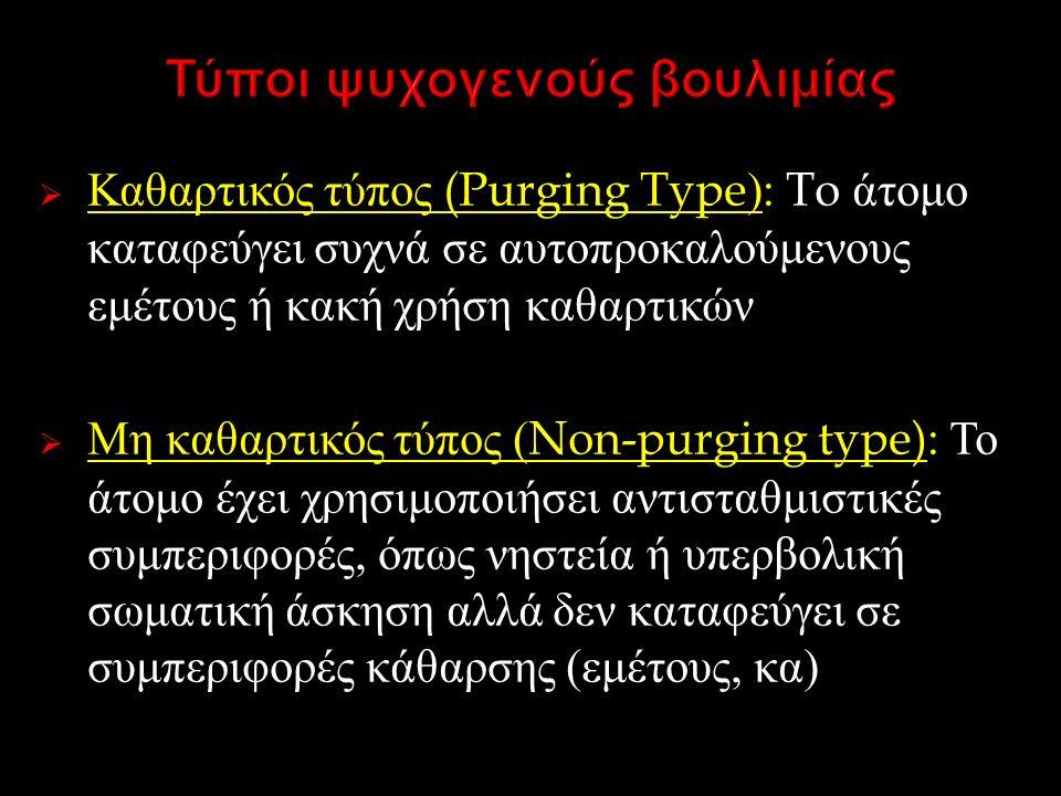  Καθαρτικός τύπος (Purging Type): To άτομο καταφεύγει συχνά σε αυτοπροκαλούμενους εμέτους ή κακή χρήση καθαρτικών  Μη καθαρτικός τύπος (Non-purging type): Το άτομο έχει χρησιμοποιήσει αντισταθμιστικές συμπεριφορές, όπως νηστεία ή υπερβολική σωματική άσκηση αλλά δεν καταφεύγει σε συμπεριφορές κάθαρσης ( εμέτους, κα )