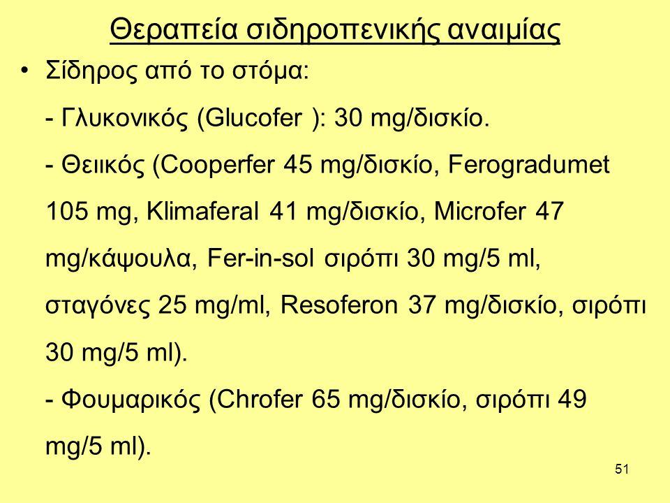 51 Θεραπεία σιδηροπενικής αναιμίας Σίδηρος από το στόμα: - Γλυκονικός (Glucofer ): 30 mg/δισκίο.