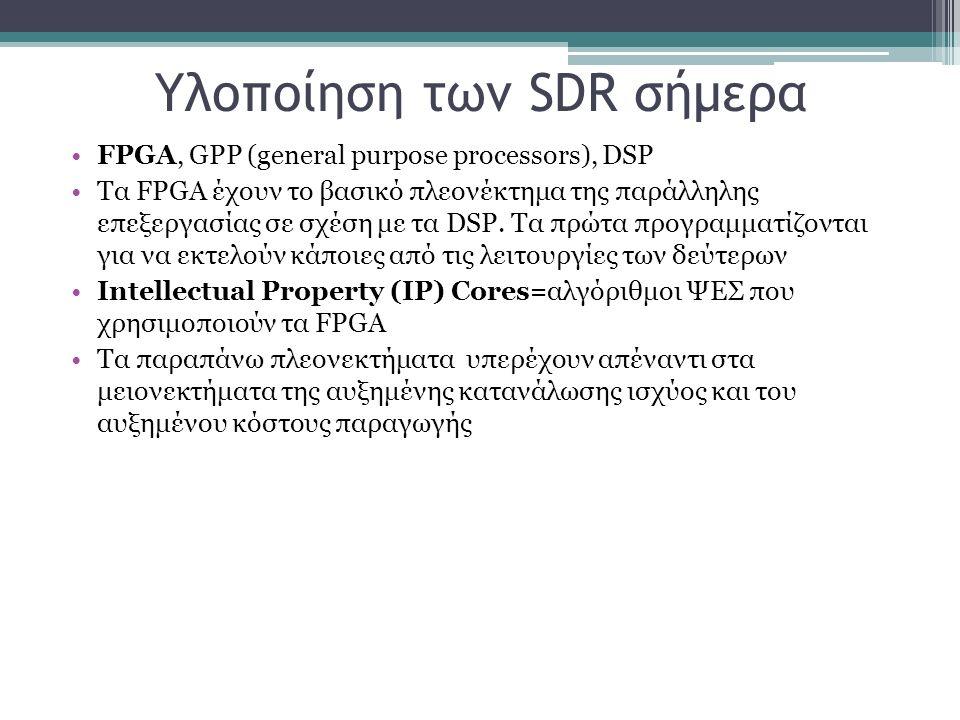 Υλοποίηση των SDR σήμερα FPGA, GPP (general purpose processors), DSP Τα FPGA έχουν το βασικό πλεονέκτημα της παράλληλης επεξεργασίας σε σχέση με τα DS