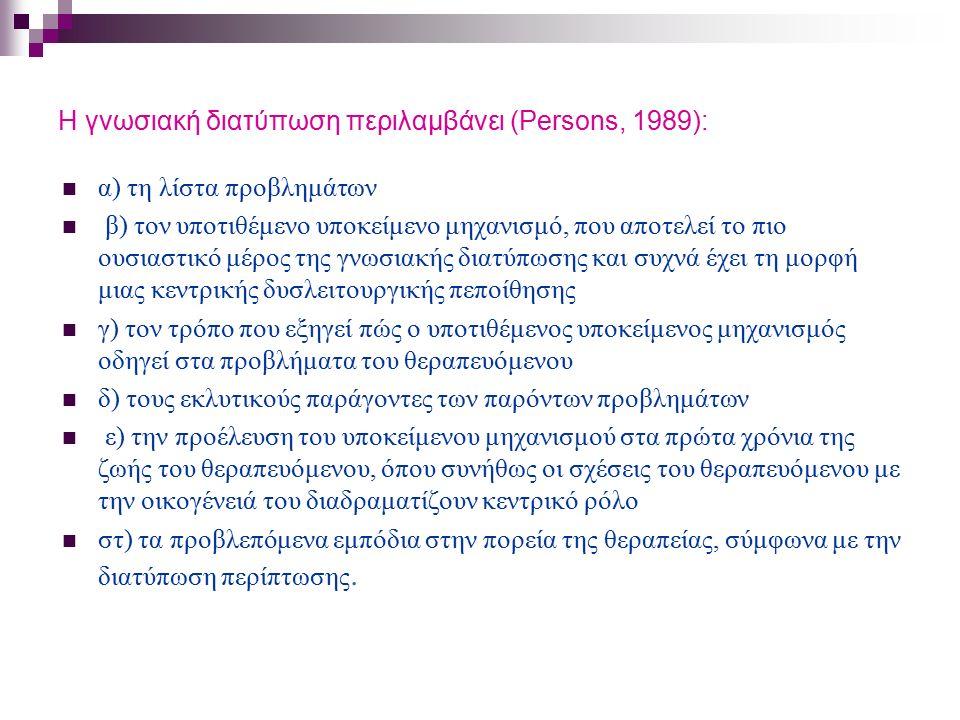 Η γνωσιακή διατύπωση περιλαμβάνει (Persons, 1989): α) τη λίστα προβλημάτων β) τον υποτιθέμενο υποκείμενο μηχανισμό, που αποτελεί το πιο ουσιαστικό μέρ