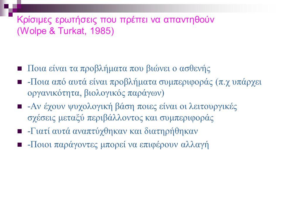 Κρίσιμες ερωτήσεις που πρέπει να απαντηθούν (Wolpe & Turkat, 1985) Ποια είναι τα προβλήματα που βιώνει ο ασθενής -Ποια από αυτά είναι προβλήματα συμπε