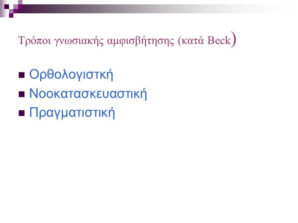 Τρόποι γνωσιακής αμφισβήτησης (κατά Beck ) Ορθολογιστκή Νοοκατασκευαστική Πραγματιστική