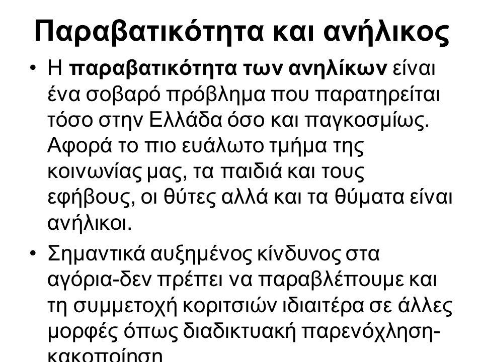Παραβατικότητα και ανήλικος Η παραβατικότητα των ανηλίκων είναι ένα σοβαρό πρόβλημα που παρατηρείται τόσο στην Ελλάδα όσο και παγκοσμίως.