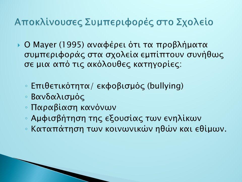  Ο Mayer (1995) αναφέρει ότι τα προβλήματα συμπεριφοράς στα σχολεία εμπίπτουν συνήθως σε μια από τις ακόλουθες κατηγορίες: ◦ Επιθετικότητα/ εκφοβισμός (bullying) ◦ Βανδαλισμός ◦ Παραβίαση κανόνων ◦ Αμφισβήτηση της εξουσίας των ενηλίκων ◦ Καταπάτηση των κοινωνικών ηθών και εθίμων.