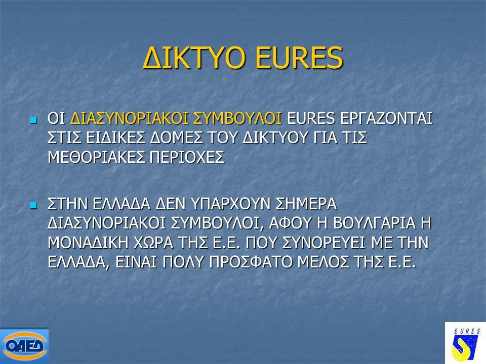 25 ΔΙΚΤΥΟ EURES ΟΙ ΔΙΑΣΥΝΟΡΙΑΚΟΙ ΣΥΜΒΟΥΛΟΙ EURES ΕΡΓΑΖΟΝΤΑΙ ΣΤΙΣ ΕΙΔΙΚΕΣ ΔΟΜΕΣ ΤΟΥ ΔΙΚΤΥΟΥ ΓΙΑ ΤΙΣ ΜΕΘΟΡΙΑΚΕΣ ΠΕΡΙΟΧΕΣ ΟΙ ΔΙΑΣΥΝΟΡΙΑΚΟΙ ΣΥΜΒΟΥΛΟΙ EURES ΕΡΓΑΖΟΝΤΑΙ ΣΤΙΣ ΕΙΔΙΚΕΣ ΔΟΜΕΣ ΤΟΥ ΔΙΚΤΥΟΥ ΓΙΑ ΤΙΣ ΜΕΘΟΡΙΑΚΕΣ ΠΕΡΙΟΧΕΣ ΣΤΗΝ ΕΛΛΑΔΑ ΔΕΝ ΥΠΑΡΧΟΥΝ ΣΗΜΕΡΑ ΔΙΑΣΥΝΟΡΙΑΚΟΙ ΣΥΜΒΟΥΛΟΙ, ΑΦΟΥ Η ΒΟΥΛΓΑΡΙΑ Η ΜΟΝΑΔΙΚΗ ΧΩΡΑ ΤΗΣ Ε.Ε.