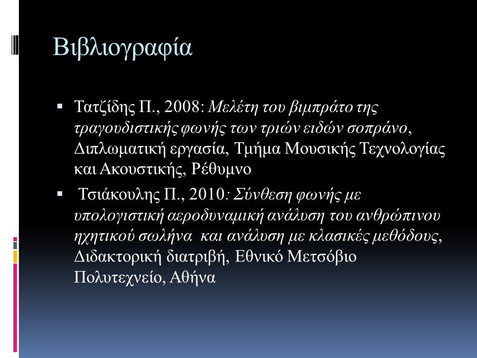 Βιβλιογραφία  Τατζίδης Π., 2008: Μελέτη του βιμπράτο της τραγουδιστικής φωνής των τριών ειδών σοπράνο, Διπλωματική εργασία, Τμήμα Μουσικής Τεχνολογίας και Ακουστικής, Ρέθυμνο  Τσιάκουλης Π., 2010: Σύνθεση φωνής με υπολογιστική αεροδυναμική ανάλυση του ανθρώπινου ηχητικού σωλήνα και ανάλυση με κλασικές μεθόδους, Διδακτορική διατριβή, Εθνικό Μετσόβιο Πολυτεχνείο, Αθήνα
