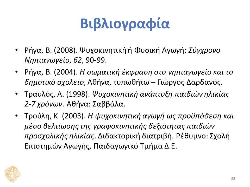 Βιβλιογραφία Ρήγα, Β. (2008). Ψυχοκινητική ή Φυσική Αγωγή; Σύγχρονο Νηπιαγωγείο, 62, 90-99.