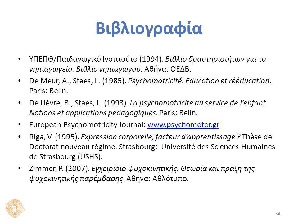 Βιβλιογραφία ΥΠΕΠΘ/Παιδαγωγικό Ινστιτούτο (1994). Βιβλίο δραστηριοτήτων για το νηπιαγωγείο.