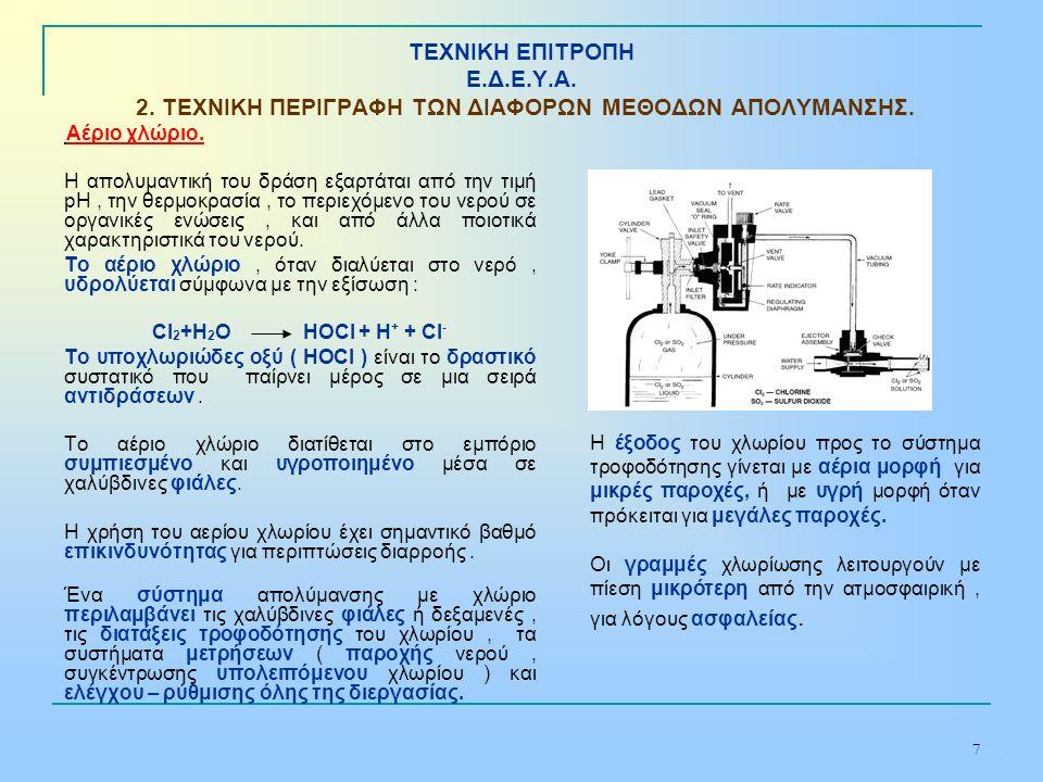 7 ΤΕΧΝΙΚΗ ΕΠΙΤΡΟΠΗ Ε.Δ.Ε.Υ.Α. 2. ΤΕΧΝΙΚΗ ΠΕΡΙΓΡΑΦΗ ΤΩΝ ΔΙΑΦΟΡΩΝ ΜΕΘΟΔΩΝ ΑΠΟΛΥΜΑΝΣΗΣ. Αέριο χλώριο. Η απολυμαντική του δράση εξαρτάται από την τιμή pH,