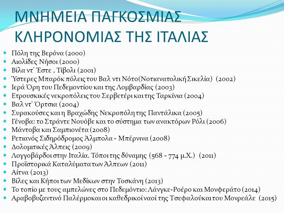 ΜΝΗΜΕΙΑ ΠΑΓΚΟΣΜΙΑΣ ΚΛΗΡΟΝΟΜΙΑΣ ΤΗΣ ΙΤΑΛΙΑΣ Πόλη της Βερόνα (2000) Αιολίδες Νήσοι (2000) Βίλα ντ Έστε, Τίβολι (2001) Ύστερες Μπαρόκ πόλεις του Βαλ ντι Νότο(Νοτιανατολική Σικελία) (2002) Ιερά Όρη του Πεδεμοντίου και της Λομβαρδίας (2003) Ετρουσκικές νεκροπόλεις του Σερβετέρι και της Ταρκίνια (2004) Βαλ ντ Όρτσια (2004) Συρακούσες και η Βραχώδης Νεκροπόλη της Παντάλικα (2005) Γένοβα: το Στράντε Νουόβε και το σύστημα των ανακτόρων Ρόλι (2006) Μάντοβα και Σαμπιονέτα (2008) Ρετιανός Σιδηρόδρομος Άλμπολα - Μπέρνινα (2008) Δολομιτικές Άλπεις (2009) Λογγοβάρδοι στην Ιταλία.