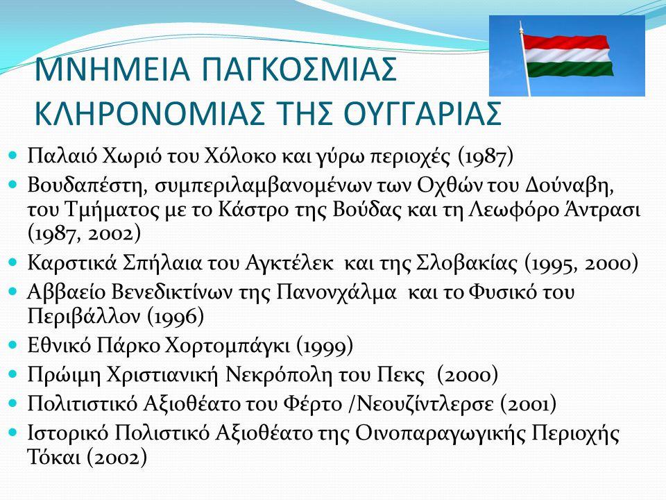 ΜΝΗΜΕΙΑ ΠΑΓΚΟΣΜΙΑΣ ΚΛΗΡΟΝΟΜΙΑΣ ΤΗΣ ΟΥΓΓΑΡΙΑΣ Παλαιό Χωριό του Χόλοκο και γύρω περιοχές (1987) Βουδαπέστη, συμπεριλαμβανομένων των Οχθών του Δούναβη, του Τμήματος με το Κάστρο της Βούδας και τη Λεωφόρο Άντρασι (1987, 2002) Καρστικά Σπήλαια του Αγκτέλεκ και της Σλοβακίας (1995, 2000) Αββαείο Βενεδικτίνων της Πανονχάλμα και το Φυσικό του Περιβάλλον (1996) Εθνικό Πάρκο Χορτομπάγκι (1999) Πρώιμη Χριστιανική Νεκρόπολη του Πεκς (2000) Πολιτιστικό Αξιοθέατο του Φέρτο /Νεουζίντλερσε (2001) Ιστορικό Πολιστικό Αξιοθέατο της Οινοπαραγωγικής Περιοχής Τόκαι (2002)