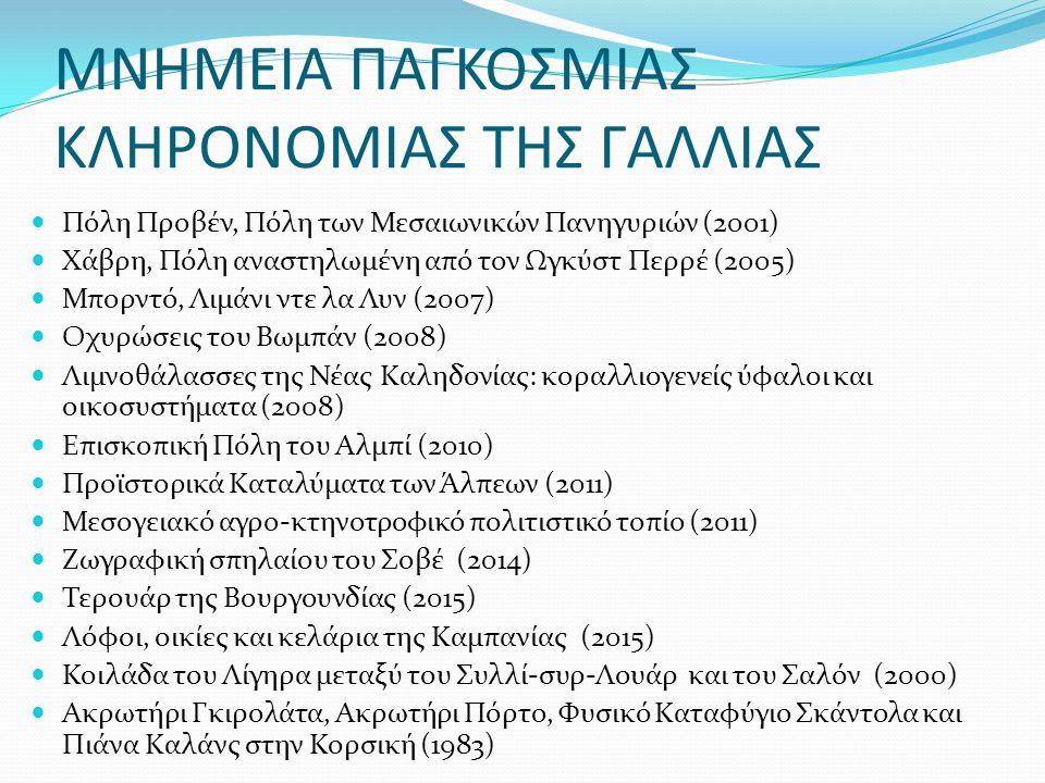 ΜΝΗΜΕΙΑ ΠΑΓΚΟΣΜΙΑΣ ΚΛΗΡΟΝΟΜΙΑΣ ΤΗΣ ΓΑΛΛΙΑΣ Πόλη Προβέν, Πόλη των Μεσαιωνικών Πανηγυριών (2001) Χάβρη, Πόλη αναστηλωμένη από τον Ωγκύστ Περρέ (2005) Μπορντό, Λιμάνι ντε λα Λυν (2007) Οχυρώσεις του Βωμπάν (2008) Λιμνοθάλασσες της Νέας Καληδονίας: κοραλλιογενείς ύφαλοι και οικοσυστήματα (2008) Επισκοπική Πόλη του Αλμπί (2010) Προϊστορικά Καταλύματα των Άλπεων (2011) Μεσογειακό αγρο-κτηνοτροφικό πολιτιστικό τοπίο (2011) Ζωγραφική σπηλαίου του Σοβέ (2014) Τερουάρ της Βουργουνδίας (2015) Λόφοι, οικίες και κελάρια της Καμπανίας (2015) Κοιλάδα του Λίγηρα μεταξύ του Συλλί-συρ-Λουάρ και του Σαλόν (2000) Ακρωτήρι Γκιρολάτα, Ακρωτήρι Πόρτο, Φυσικό Καταφύγιο Σκάντολα και Πιάνα Καλάνς στην Κορσική (1983)