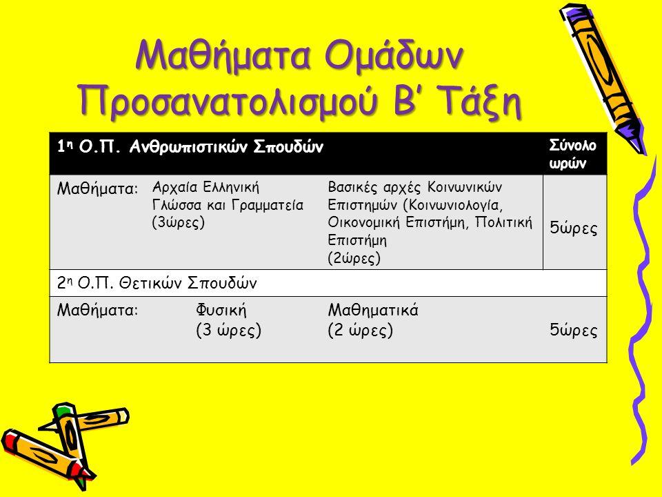 Μαθήματα Ομάδων Προσανατολισμού Β' Τάξη 1 η Ο.Π. Ανθρωπιστικών Σπουδών Σύνολο ωρών Μαθήματα: Αρχαία Ελληνική Γλώσσα και Γραμματεία (3ώρες) Βασικές αρχ