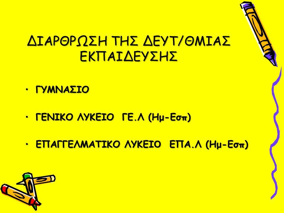 ΔΙΑΡΘΡΩΣΗ ΤΗΣ ΔΕΥΤ/ΘΜΙΑΣ ΕΚΠΑΙΔΕΥΣΗΣ ΓΥΜΝΑΣΙΟΓΥΜΝΑΣΙΟ ΓΕΝΙΚΟ ΛΥΚΕΙΟ ΓΕ.Λ (Ημ-Εσπ)ΓΕΝΙΚΟ ΛΥΚΕΙΟ ΓΕ.Λ (Ημ-Εσπ) ΕΠΑΓΓΕΛΜΑΤΙΚΟ ΛΥΚΕΙ O ΕΠΑ.Λ (Ημ-Εσπ)ΕΠΑΓΓΕΛΜΑΤΙΚΟ ΛΥΚΕΙ O ΕΠΑ.Λ (Ημ-Εσπ)