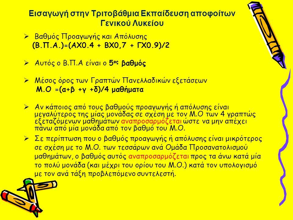 Εισαγωγή στην Τριτοβάθμια Εκπαίδευση αποφοίτων Γενικού Λυκείου  Βαθμός Προαγωγής και Απόλυσης (Β.Π.Α.)=(ΑX0.4 + ΒX0,7 + ΓX0.9)/2  Αυτός ο Β.Π.Α είνα