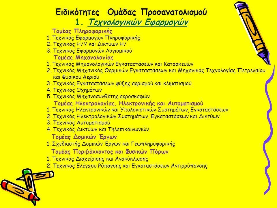 Τεχνολογικών Εφαρμογών Ειδικότητες Ομάδας Προσανατολισμού 1. Τεχνολογικών Εφαρμογών Τομέας Πληροφορικής 1. Τεχνικός Εφαρμογών Πληροφορικής 2. Τεχνικός