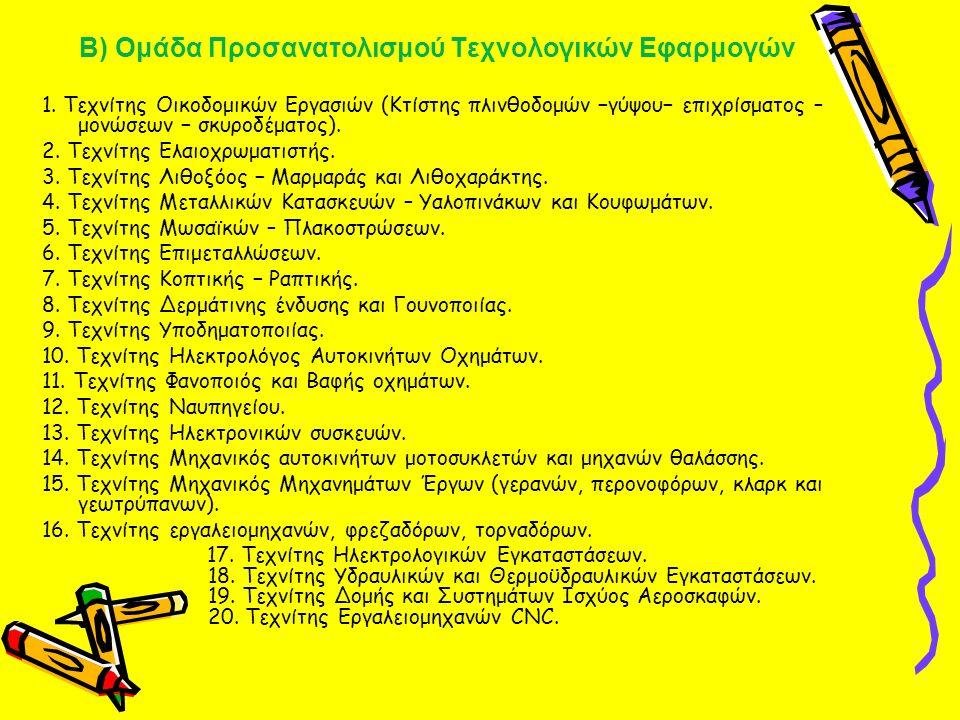 Β) Ομάδα Προσανατολισμού Τεχνολογικών Εφαρμογών 1. Τεχνίτης Οικοδομικών Εργασιών (Κτίστης πλινθοδομών −γύψου− επιχρίσματος – μονώσεων − σκυροδέματος).