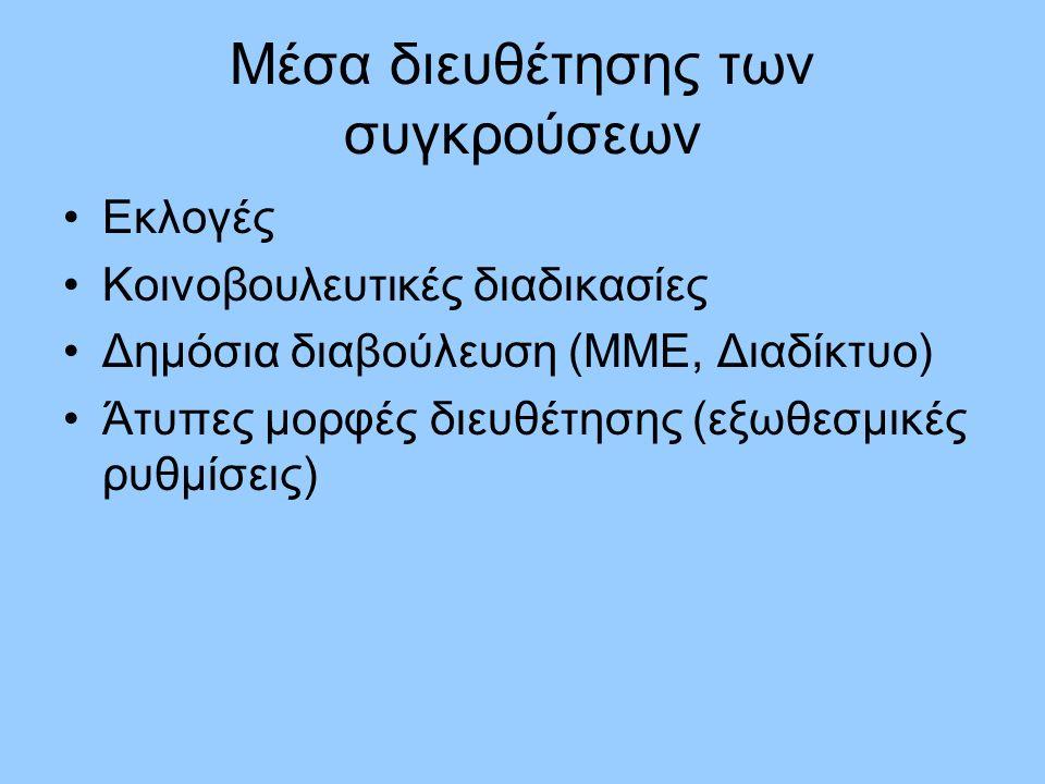 Μέσα διευθέτησης των συγκρούσεων Εκλογές Κοινοβουλευτικές διαδικασίες Δημόσια διαβούλευση (ΜΜΕ, Διαδίκτυο) Άτυπες μορφές διευθέτησης (εξωθεσμικές ρυθμίσεις)